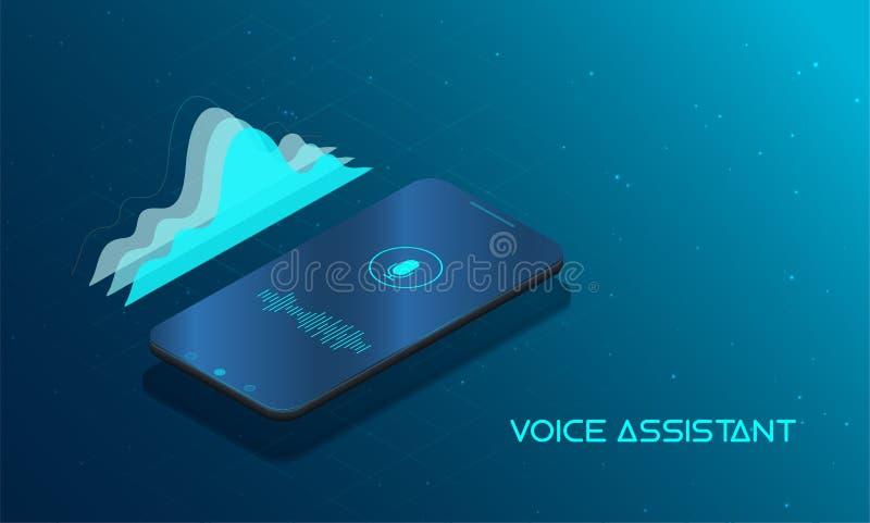Concepto moderno auxiliar de la voz ilustración del vector