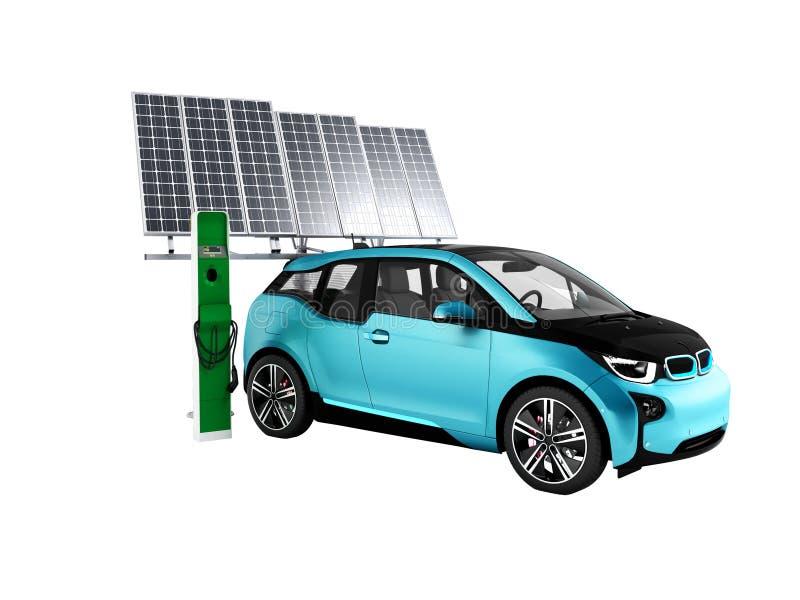 Concepto moderno de cargar una representación de la batería solar 3d del coche eléctrico en un fondo blanco ninguna sombra stock de ilustración