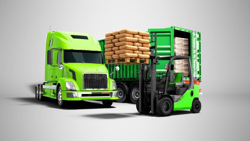 Concepto moderno de descargar el cargo del verde del camión con tra libre illustration