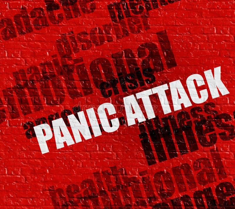 Concepto moderno de la atención sanitaria: Ataque de pánico en Brickwall rojo imágenes de archivo libres de regalías