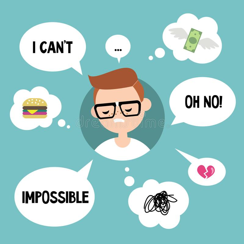 Concepto moderno de la comunicación: Empollón infeliz rodeado por el speakin libre illustration