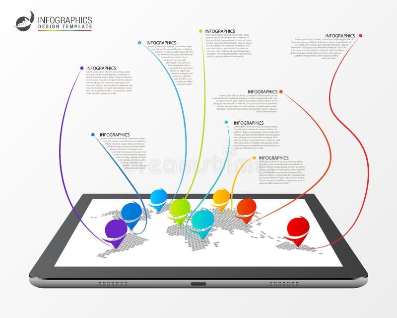 Concepto moderno de la conexión del mapa del mundo Modelo de Infographic libre illustration
