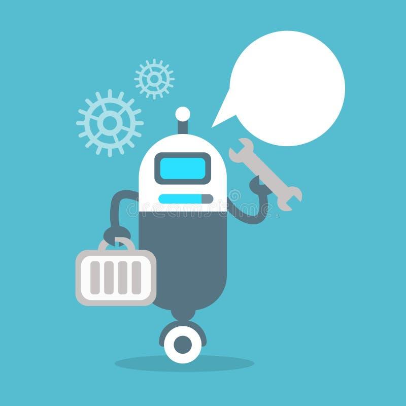 Concepto moderno de la tecnología de inteligencia artificial de la reparación de los ajustes del robot stock de ilustración
