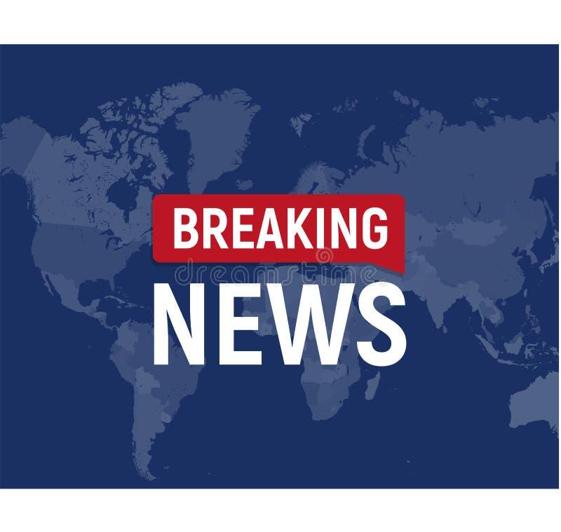 Concepto moderno de las noticias de última hora Plantilla de las noticias de mundo en backgorund del mapa del mundo Ilustración d ilustración del vector