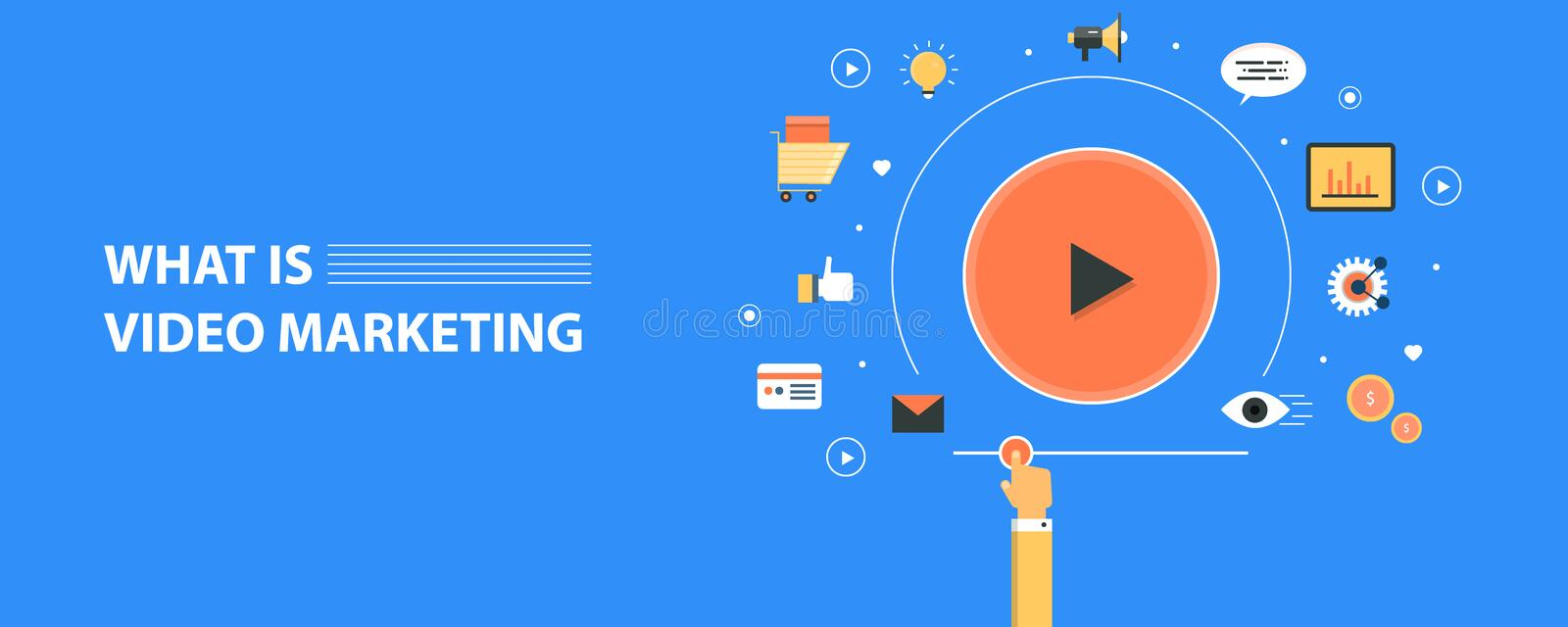 Concepto moderno de márketing video, bandera plana del vector del diseño libre illustration