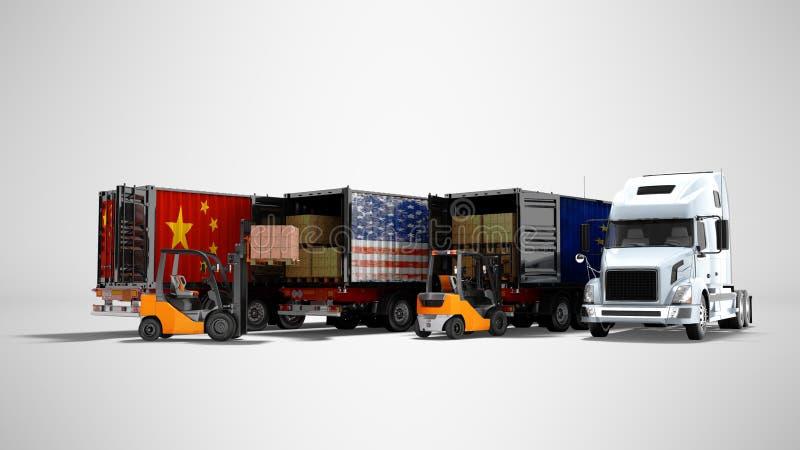 Concepto moderno de mercancías cargadas en el remolque para transportar los camiones volquete 3d para rendir en fondo gris con la ilustración del vector