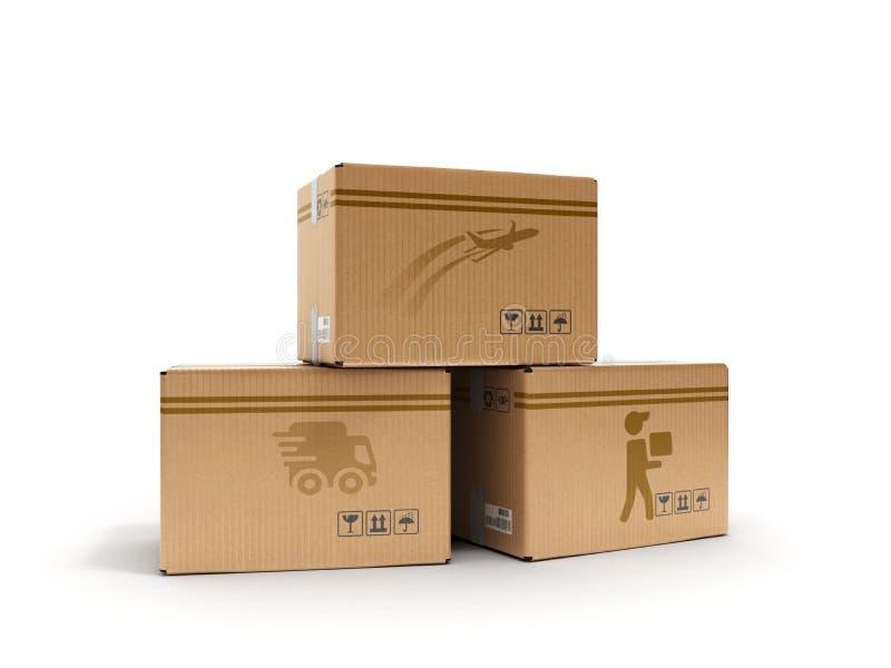 Concepto moderno de todos los tipos de cajas de la entrega con las imágenes del coche y del mensajero peatonal 3d de los aviones  stock de ilustración