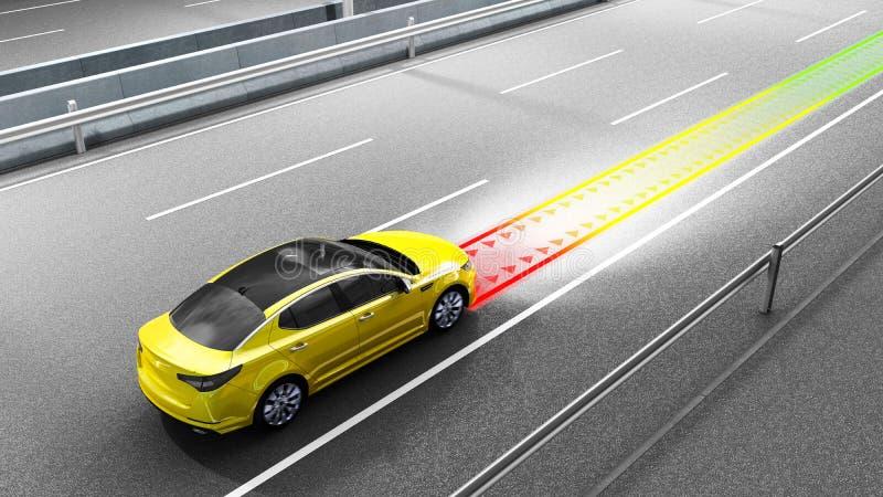 concepto moderno de un rende seguro del sistema de evitación de colisión del coche 3d ilustración del vector