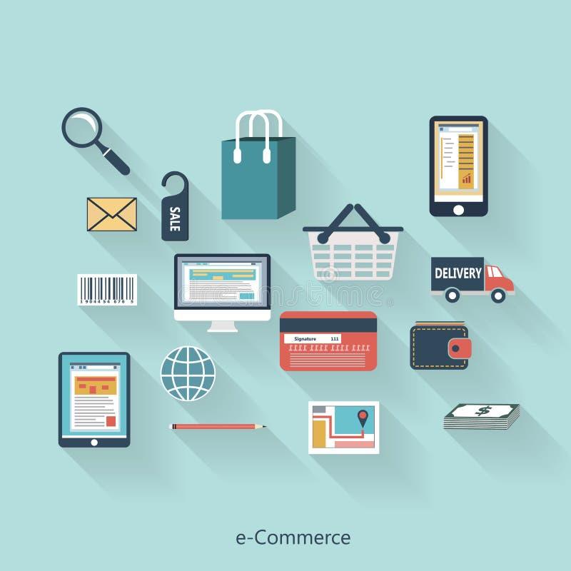 Concepto moderno del comercio electrónico en diseño plano libre illustration
