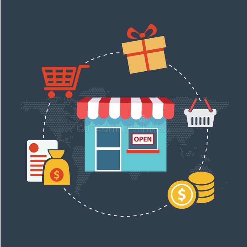 Concepto moderno del ejemplo del vector del diseño plano de paga por compras de Internet del tecleo en fondo elegante libre illustration