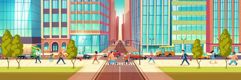 Concepto moderno del vector de la historieta de la vida en las calles de la ciudad libre illustration