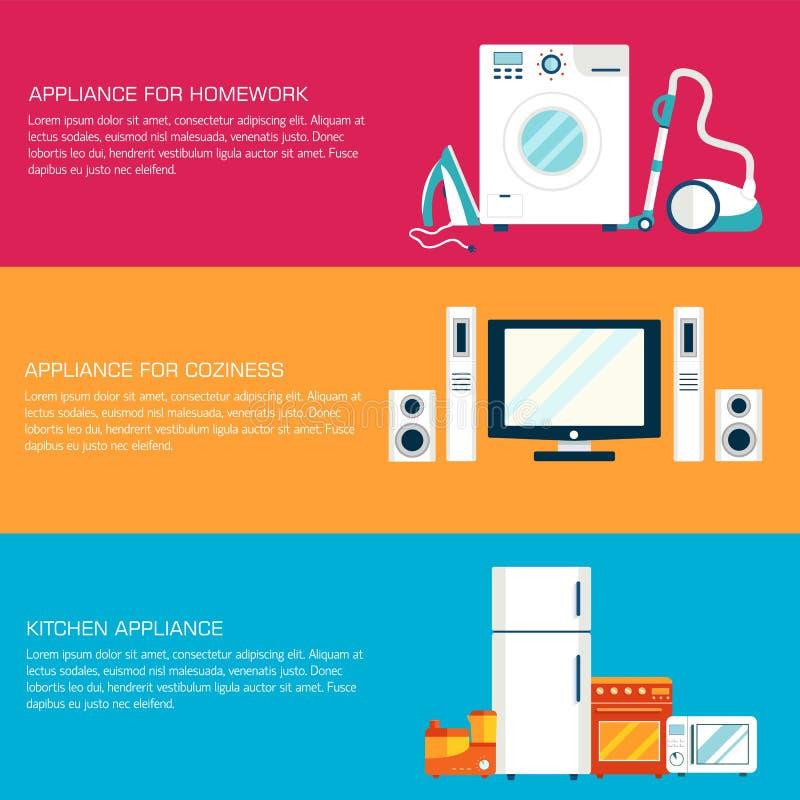 Concepto moderno plano de los iconos del tehnology de los dispositivos de la electrónica casera Bandera y elemento header del tít libre illustration