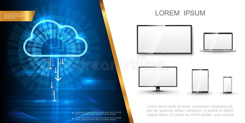 Concepto moderno realista de la tecnología ilustración del vector