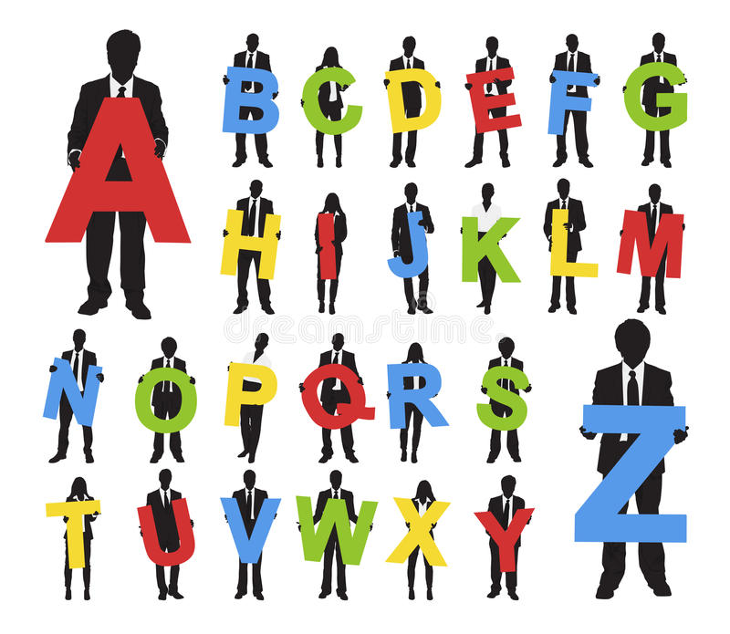 Concepto multi de la colaboración del grupo del alfabeto del texto de la gente stock de ilustración