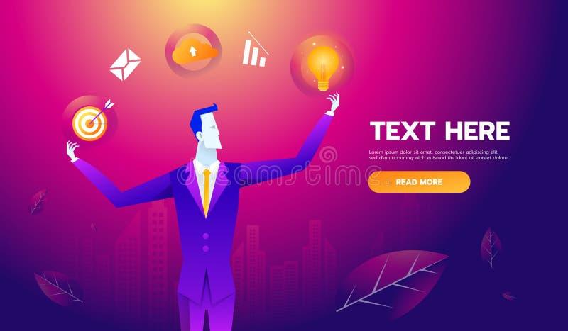 Concepto multi de la habilidad Hombre de negocios con los iconos y las habilidades del negocio Ejemplo del vector del negocio del ilustración del vector