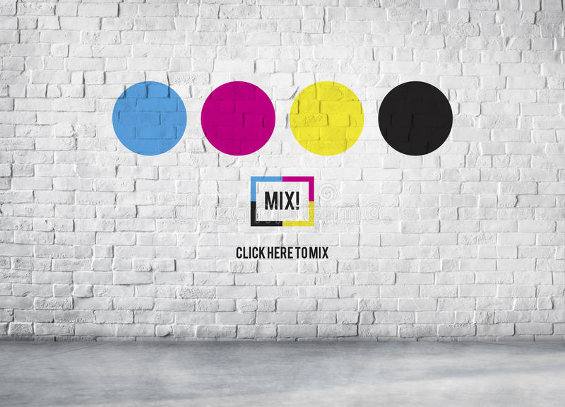 Concepto multicolor de la mezcla CMYK de la impresión de la tinta del color foto de archivo libre de regalías