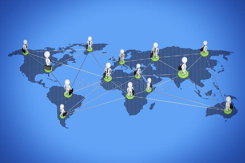 Concepto mundial del asunto Businessmans que conecta sobre el Wor ilustración del vector