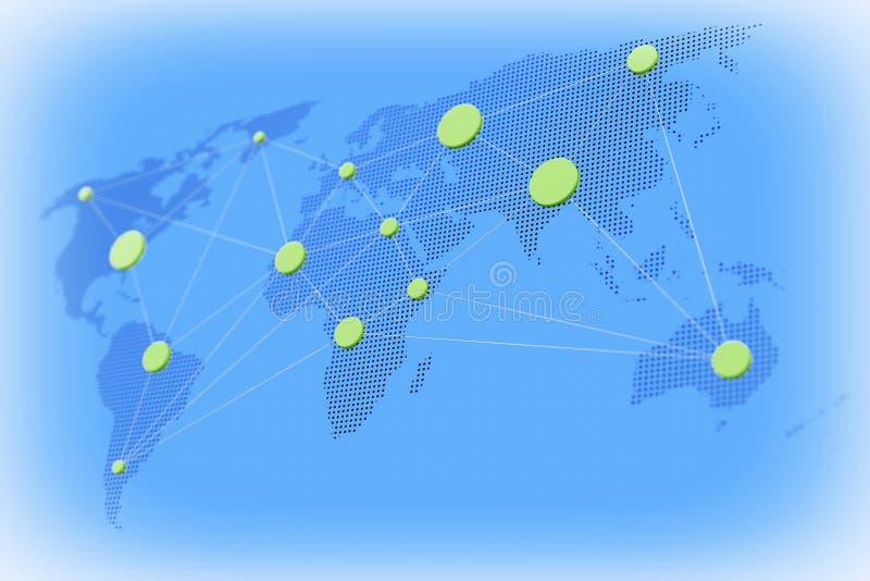 Concepto mundial del asunto Mapa del mundo con nodos conectados 3D r stock de ilustración