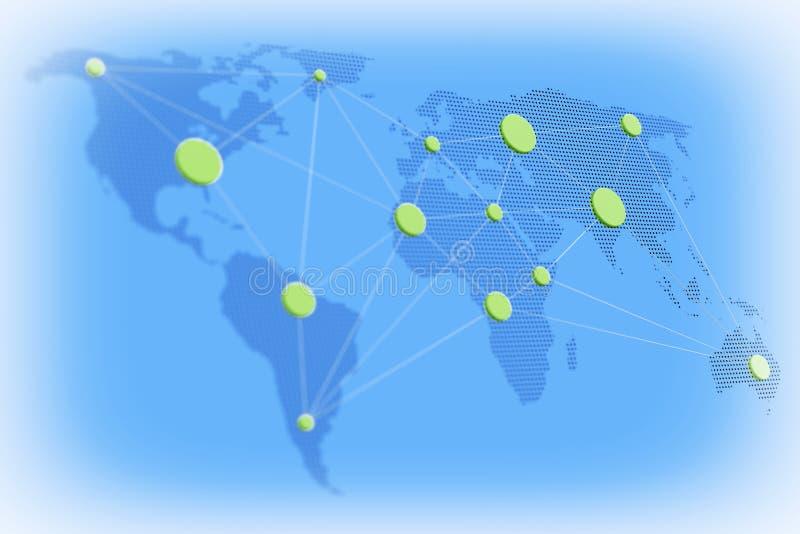 Concepto mundial del asunto Mapa del mundo con nodos conectados 3D r ilustración del vector