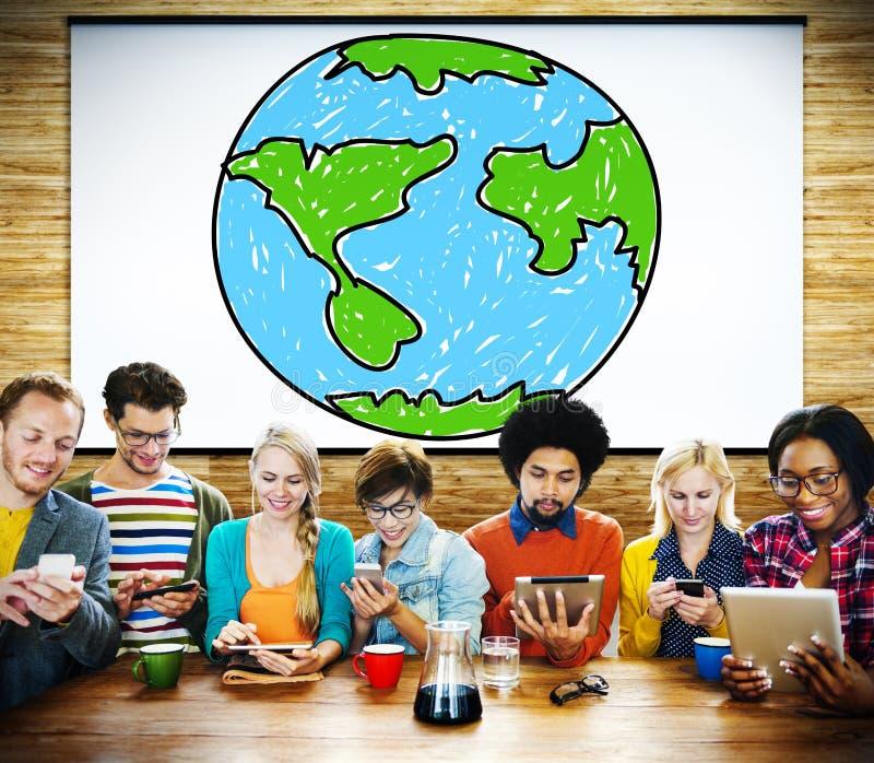 Concepto mundial del establecimiento de una red de la economía global de la comunicación imagen de archivo