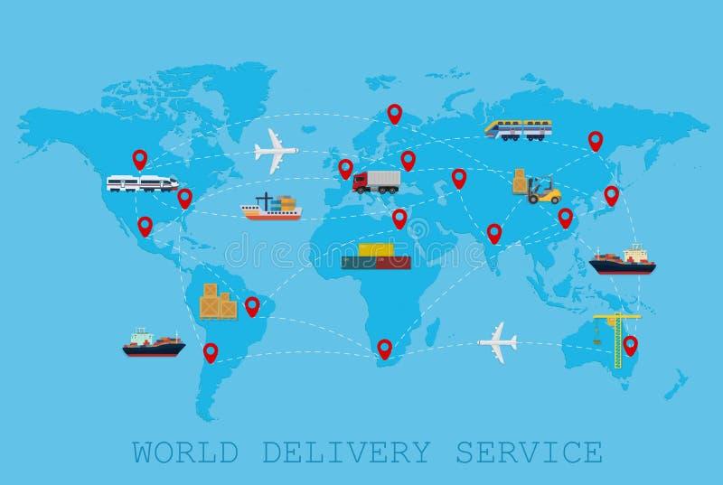 Concepto mundial global del mapa del mundo de la entrega logística, del envío y del servicio ilustración del vector
