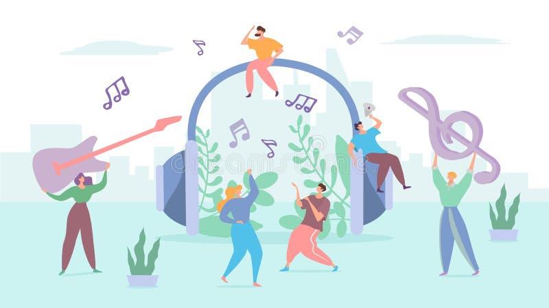 Concepto musical de audífonos, gente pequeña bailando en la calle, símbolo de melodía, ilustración vectorial libre illustration