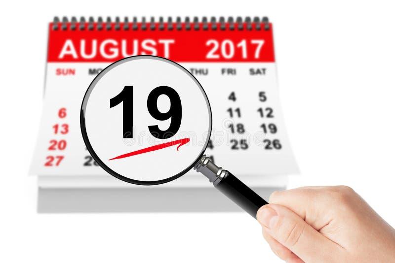Concepto nacional del día de la aviación 19 de agosto de 2017 calendario con el magn imágenes de archivo libres de regalías