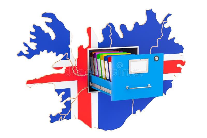 Concepto nacional islandés de la base de datos, representación 3D stock de ilustración