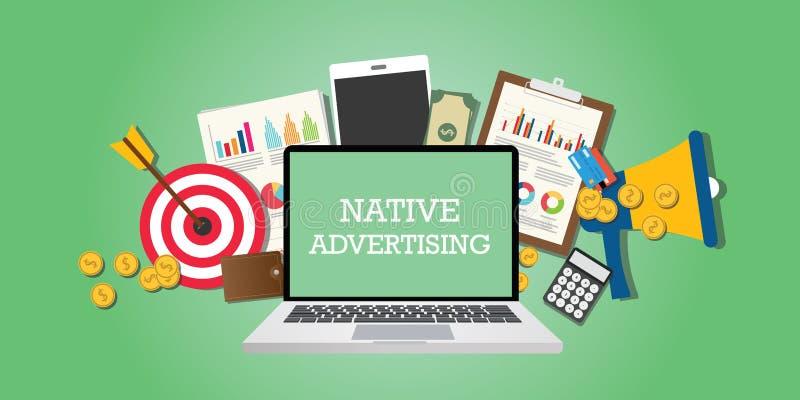 Concepto nativo de la publicidad con los medios del márketing ilustrados en ordenador portátil stock de ilustración