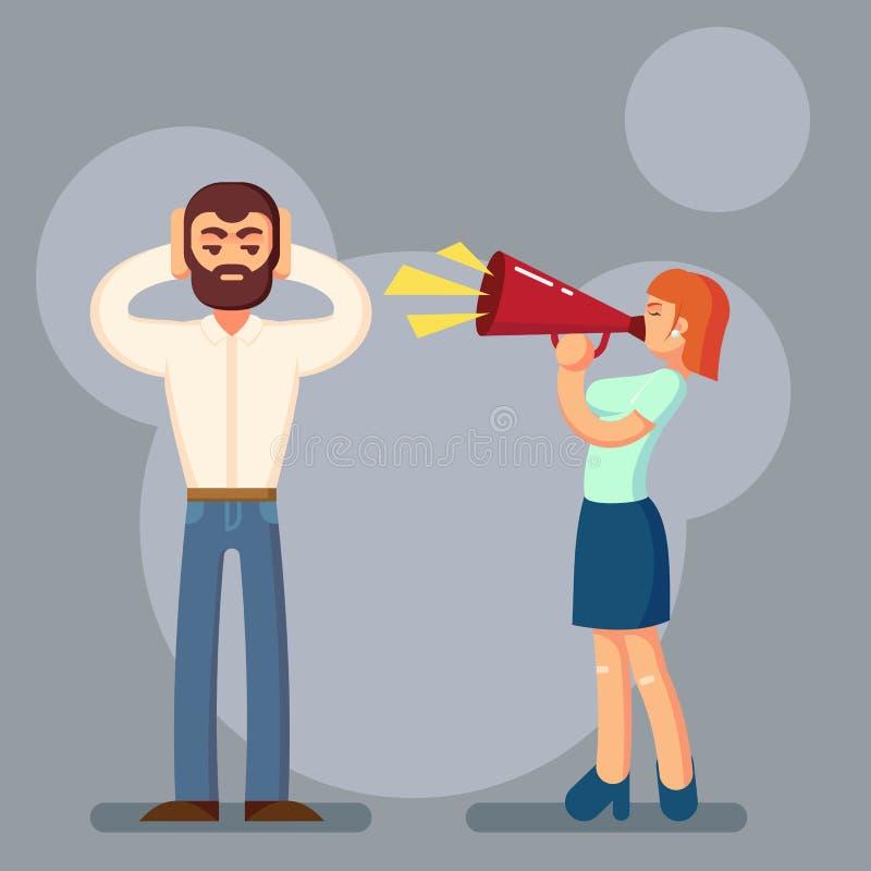 Concepto negativo de las emociones Gente en lucha Marido y esposa que discuten la griterío en uno a Pares emocionales expresivos  ilustración del vector