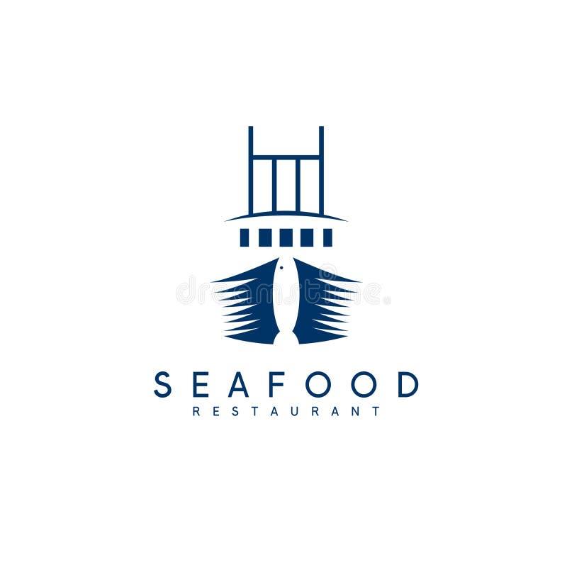 Concepto negativo del espacio de restaurante de los mariscos con la nave stock de ilustración