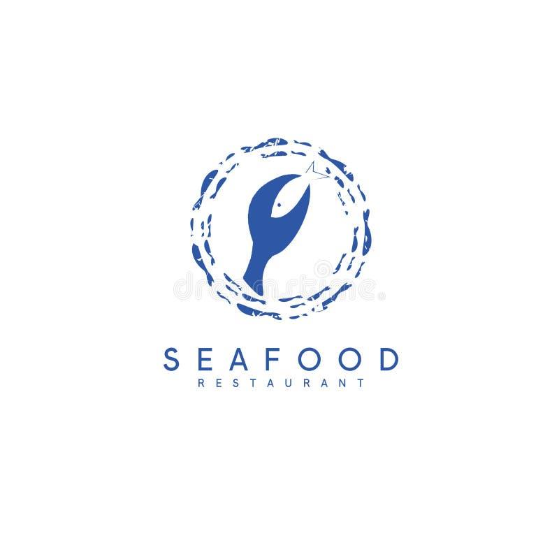 Concepto negativo del espacio de restaurante de los mariscos con los pescados libre illustration