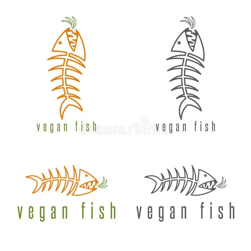 Concepto negativo del vector de espacio de esqueleto de los pescados libre illustration