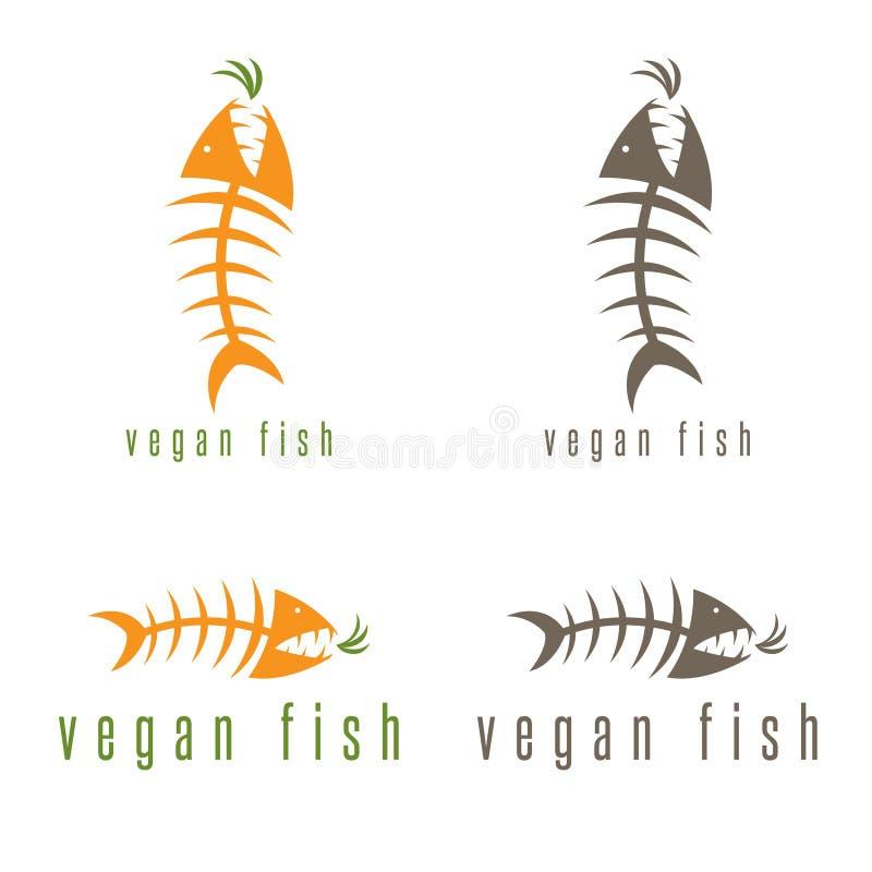 Concepto negativo del vector de espacio de esqueleto de los pescados ilustración del vector