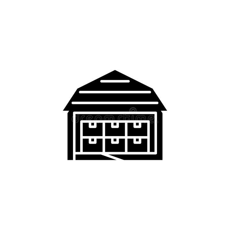 Concepto negro del icono del almacén Símbolo plano del vector del almacén, muestra, ejemplo ilustración del vector