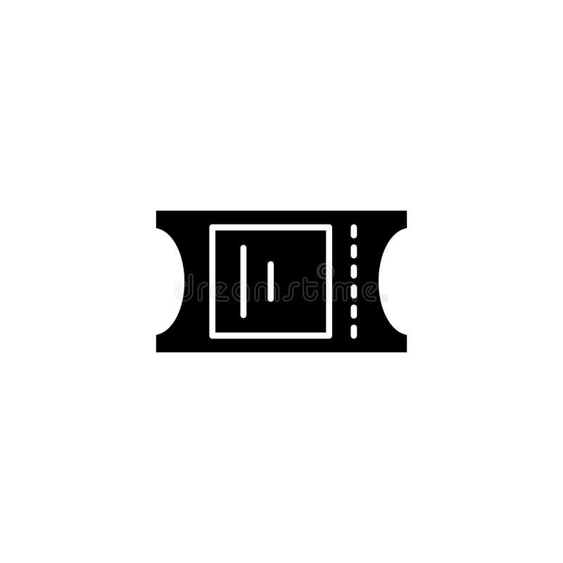 Concepto negro del icono del boleto Marque el símbolo plano del vector, muestra, ejemplo stock de ilustración