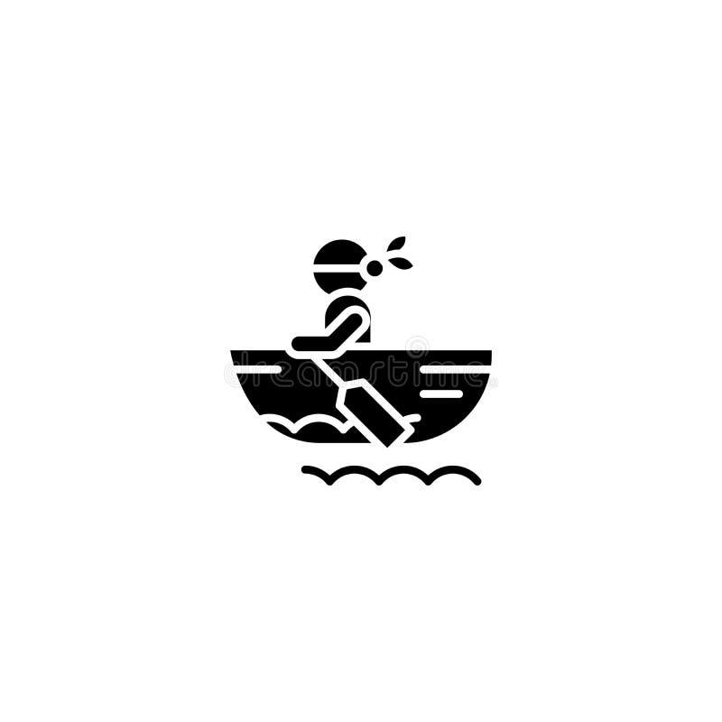Concepto negro del icono del bote Símbolo plano del vector del bote, muestra, ejemplo ilustración del vector