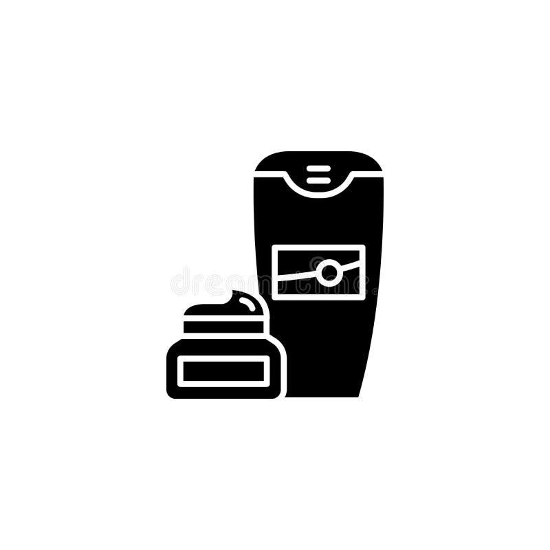 Concepto negro del icono de la crema de afeitar Símbolo plano del vector de la crema de afeitar, muestra, ejemplo libre illustration