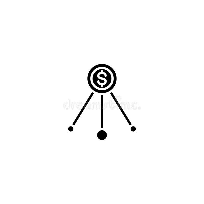 Concepto negro del icono de los canales de ventas Símbolo plano del vector de los canales de ventas, muestra, ejemplo libre illustration