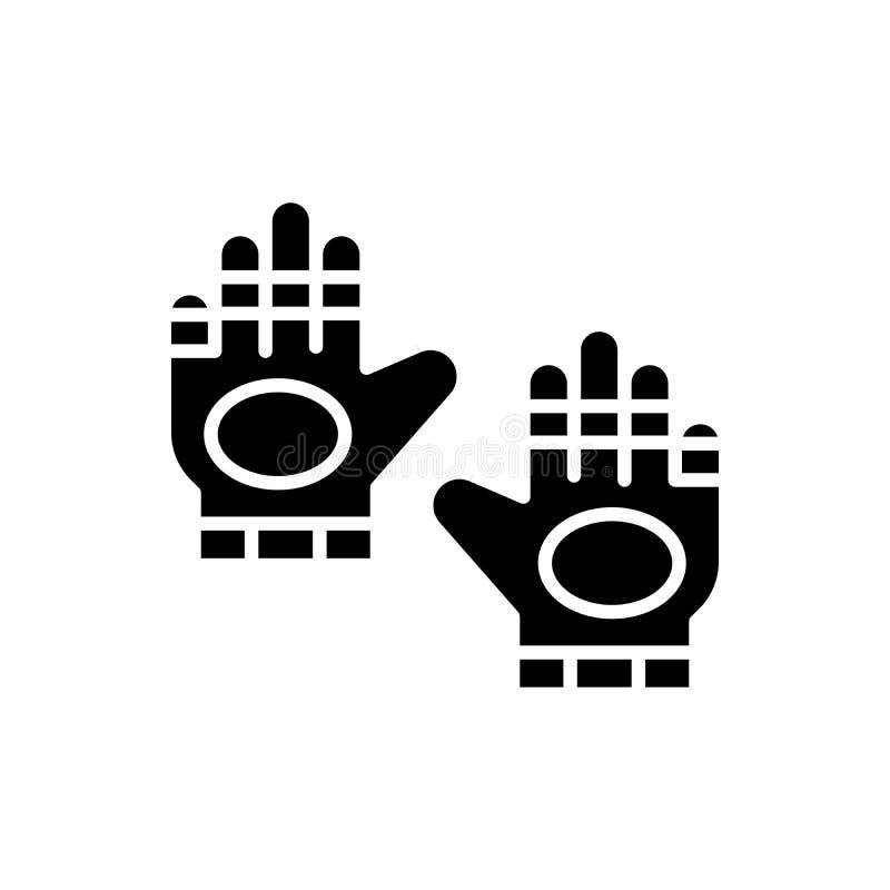 Concepto negro del icono de los guantes del deporte Diviértase el símbolo plano del vector de los guantes, muestra, ejemplo libre illustration