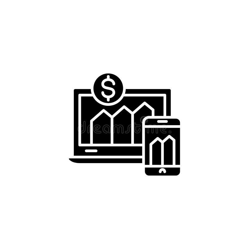 Concepto negro del icono de los indicadores financieros Símbolo plano del vector de los indicadores financieros, muestra, ejemplo ilustración del vector