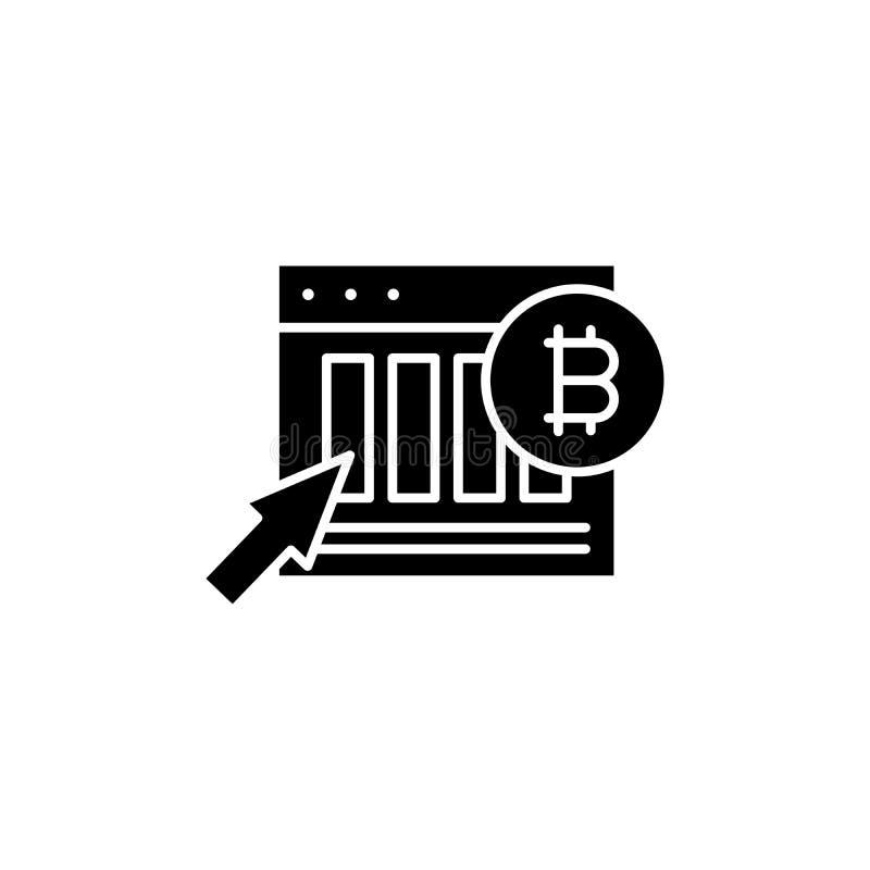 Concepto negro del icono de los indicadores del mercado de Bitcoin Símbolo plano del vector de los indicadores del mercado de Bit libre illustration