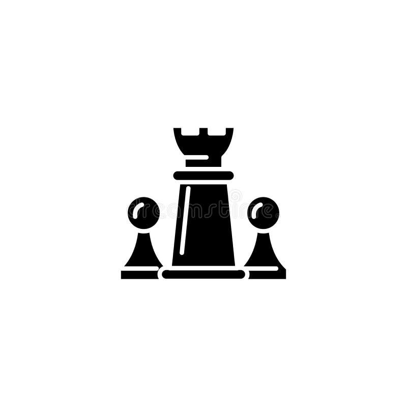 Concepto negro del icono de los pedazos de ajedrez Símbolo plano del vector de los pedazos de ajedrez, muestra, ejemplo stock de ilustración