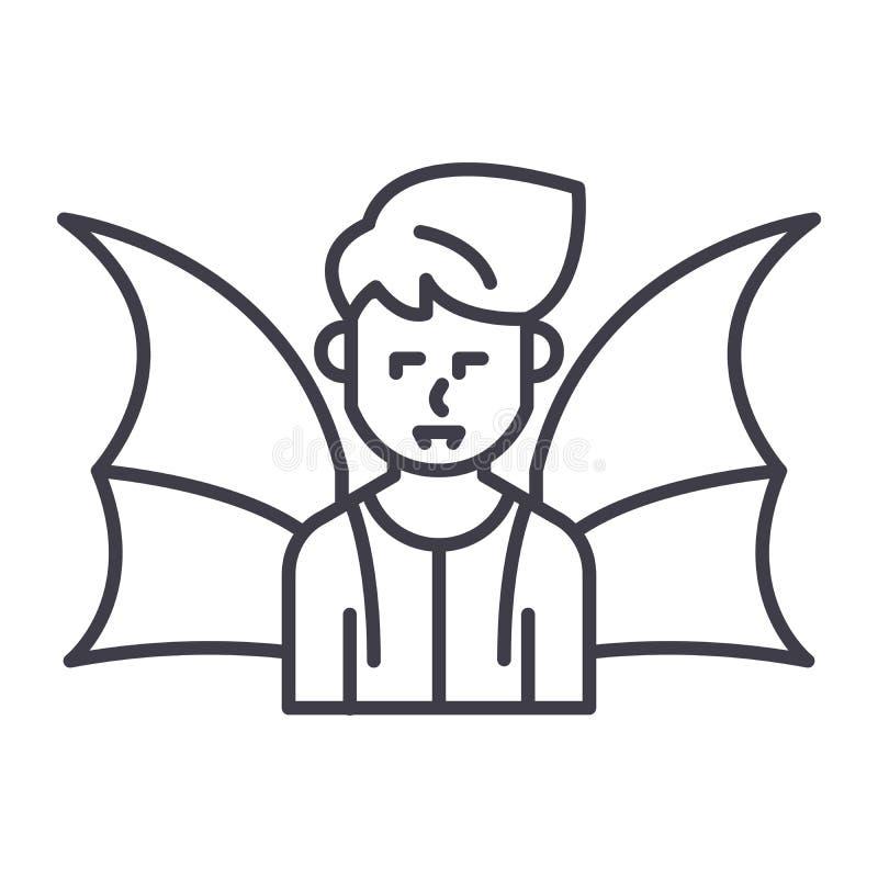 Concepto negro del icono del demonio Símbolo plano del vector del demonio, muestra, ejemplo libre illustration