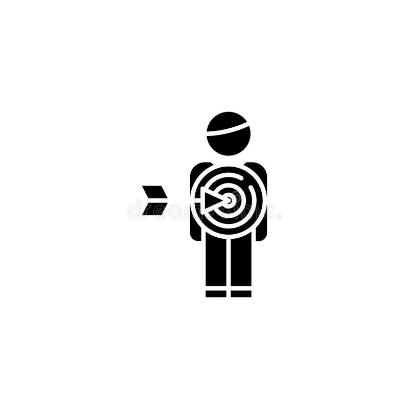 Concepto negro del icono del público objetivo Símbolo plano del vector del público objetivo, muestra, ejemplo stock de ilustración