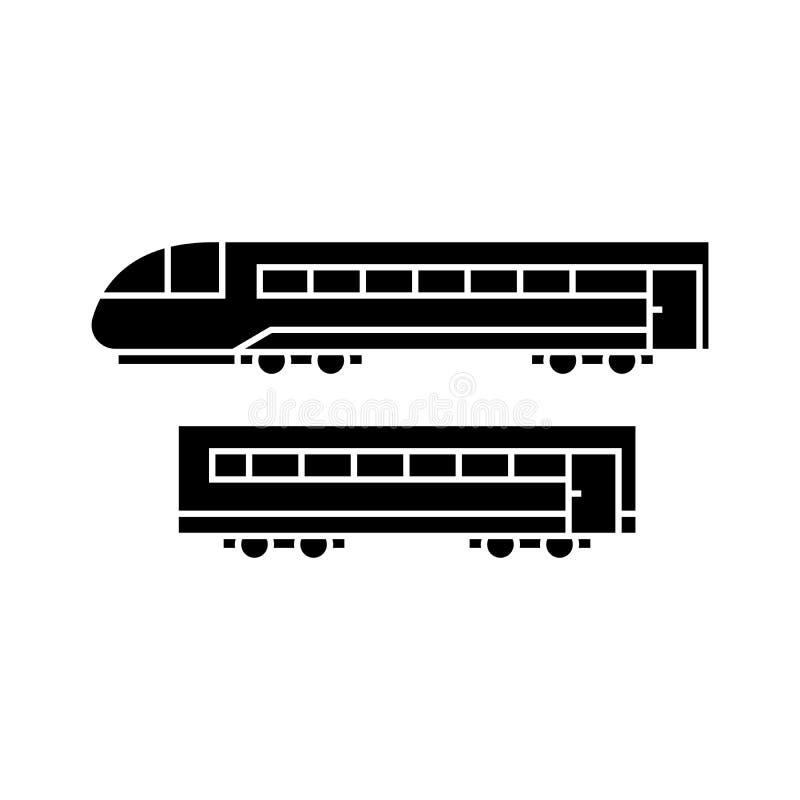 Concepto negro del icono del tren Muestra del vector del tren, símbolo, ejemplo libre illustration