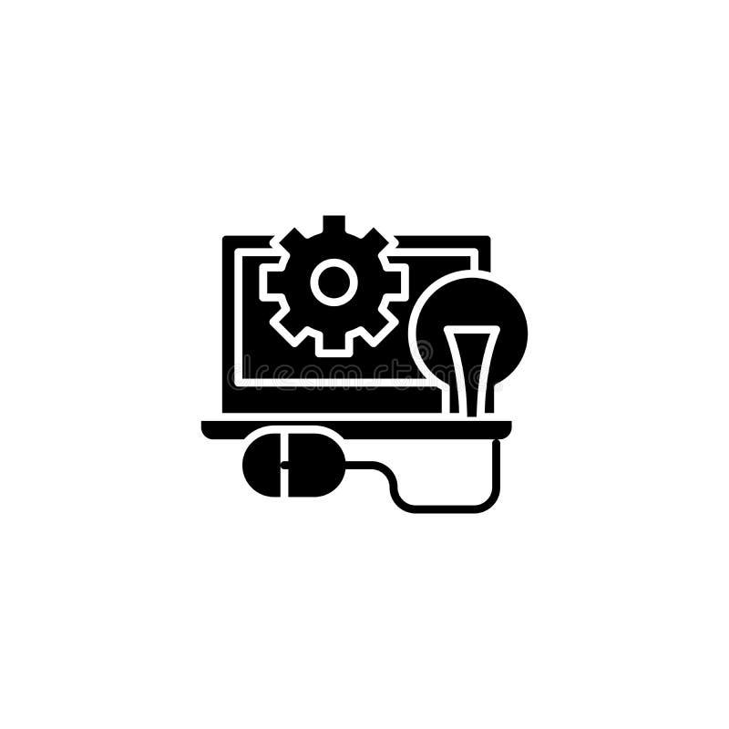 Concepto negro programado del icono Símbolo plano programado del vector, muestra, ejemplo stock de ilustración