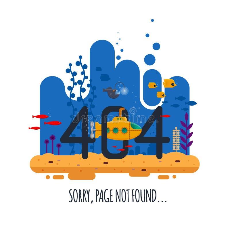 concepto no encontrado de la página de 404 errores con el mundo submarino aislado en el fondo blanco Submarino amarillo con el pe libre illustration