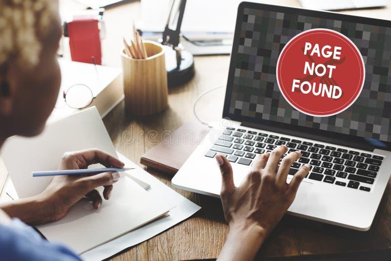 Concepto no encontrado del problema del mensaje 404 de la página foto de archivo