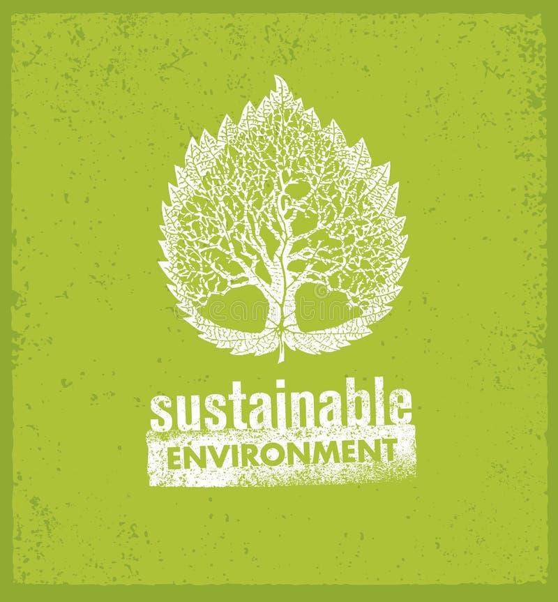 Concepto orgánico creativo vivo sostenible verde de la bandera del vector de Eco en fondo áspero libre illustration
